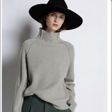 New women's sweater high collar solid color thick sweater loose pullover sweater knit bottoming shirt color block mixed knit pullover sweater