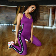 ФОТО NIDALEE Sport Suit Women Fitness Yoga Set Gym Sport Jumpsuits Letter Printed Padded Gym Running Sportswear Sports Tracksuit