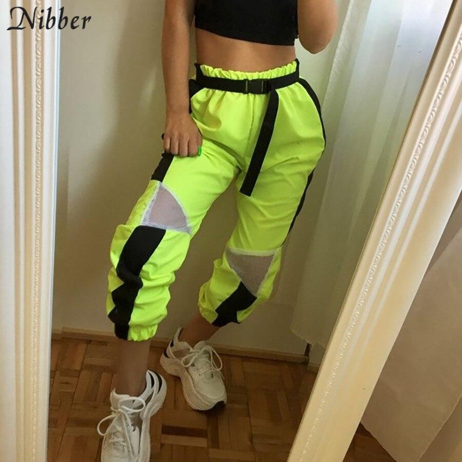 Nibber 2019 primavera moda neon verde calças femininas soltas casual calças retas quente de cintura alta ativo streetwear calças largas perna