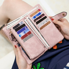 Zipper & Hasp Wristband Long Clutch Wallets for Women Large Capacity Card Holder Purse Phone Pocket Wallet Female Scrub Purse
