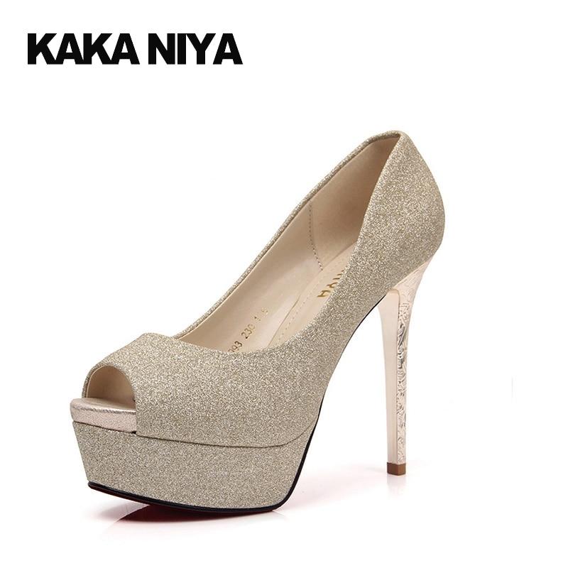 401aa1985de4 Size 4 34 Fetish Peep Toe 2017 Gold Shoes Wedding Platform Slip On 12cm 5  Inch Bling Ladies Bridal Sequin Stiletto High Heels