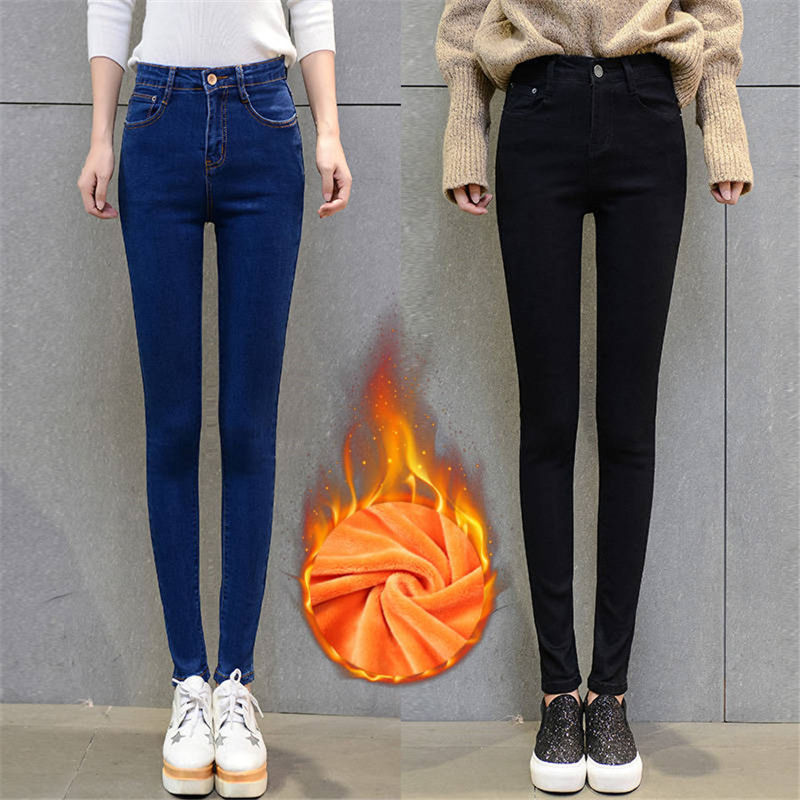 Stretch Winter   Jeans   For Women Thick Flock High Waist Elastic Casual Denim Pencil Pants Skinny Female Trousers Stretch   Jeans