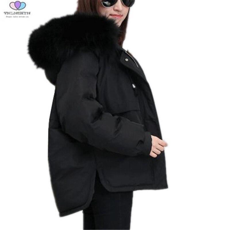 Col Veste 2018 Gray Fourrure Femmes black De Manteaux Capuche En Tnlnzhyn E416 Doudoune Coton Rice Courte Hiver Épais À Nouveau Chaud Grand Mode 74q70