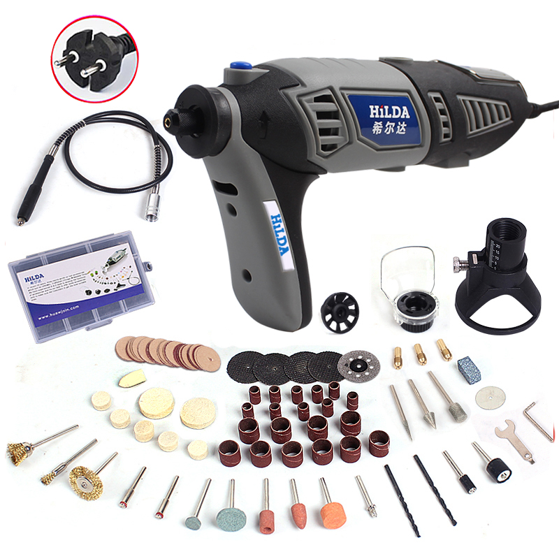Hilda 180W Variable Speed  for Dremel Rotary Tool Electric Mini Drill Flexible Shaft and Accessories Grey Color Machine hilda 400w mini electric drill with 6 position variable speed dremel rotary tools with flexible shaft and 94pcs accessories