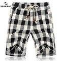 SHAN BAO En el verano de 2017 los nuevos hombres de moda de playa pantalones cortos con cuentas joyería de diseñador de pantalones cortos a cuadros de algodón de gran tamaño M-5 xl