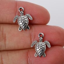 Vintage 12Pcs 12*16mm Zinc Alloy Antique Silver Sea Turtle Charms Pendants Jewelry Findings For DIY Choker Necklace Bracelet(China)