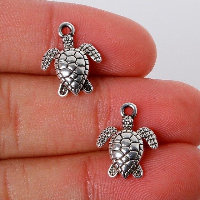 Vintage 12Pcs 12*16mm Zinc Alloy Antique Silver Sea Turtle Charms Pendants Jewelry Findings For DIY Choker Necklace Bracelet