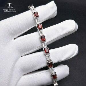 Image 4 - TBJ ، 925 فضة المبهر 5ct موزمبيق العقيق الأحمر عالية الجودة سوار غرامة مجوهرات للنساء مع صندوق مجوهرات