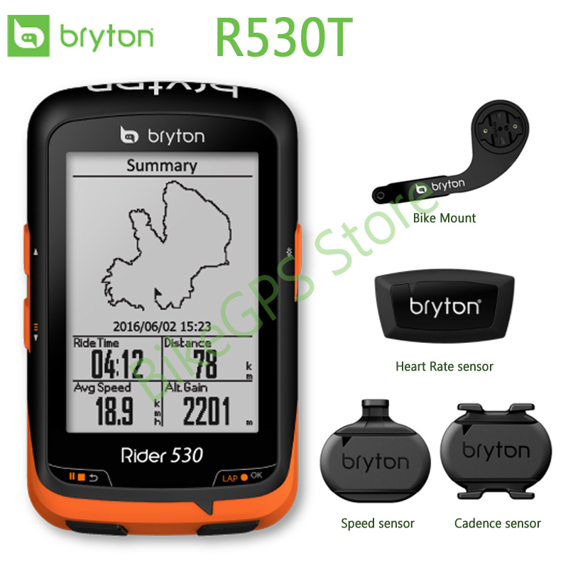 Bryton Rider R530T/ GPS Bicycle Bike Cycling Computer & Extension Mount with ANT+ Speed Cadence Dual Sensor rider 530 c gps bicycle bike cycling computer extension mount with ant cadence sensor garmin edge200 520 820 1000 1030