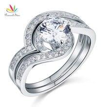 Pavo real Estrella 2-pc Esterlina Sólida 925 Anillo de Plata de Compromiso Aniversario Conjunto Creado Diamond Joyería CFR8036