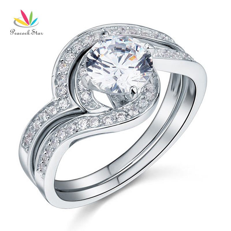 Peacock Star Anniversary Engagement 2 Pcs Sterling Solid 925 Silver Ring Set Jewelry CFR8036