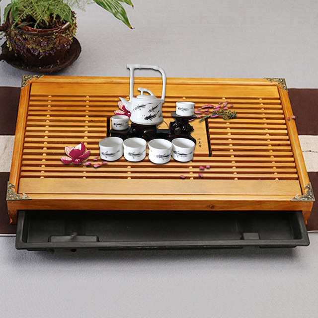 Wood Tea Tray Drainage Water Storage Set Room Board Table Chinese Cup Ceremony Tools