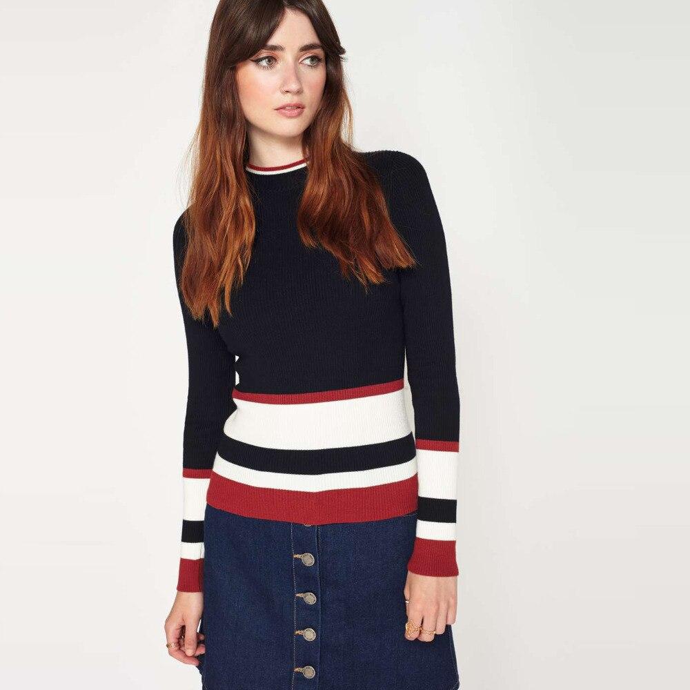 Long sleeve <font><b>white</b></font> red black <font><b>striped</b></font> sweaters women spring contrast slim fit <font><b>rib</b></font> jumpers ladies street chic casual <font><b>knitted</b></font> <font><b>tops</b></font>