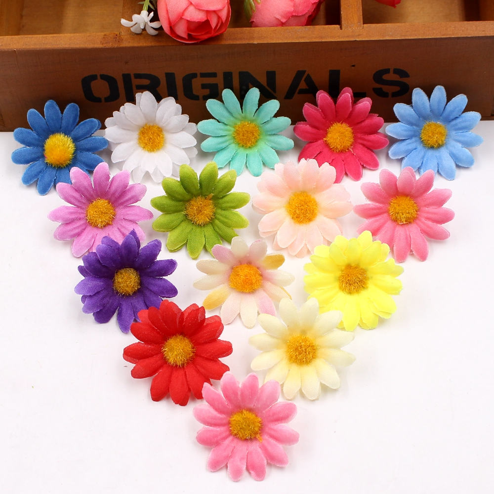 50pcs small silk sunflower handmake artificial flower head for Artificial decoration