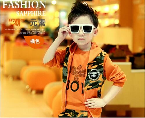 Autumn winter Retail Children s clothes Sell like boy three piece Pure cotton camouflage Children s