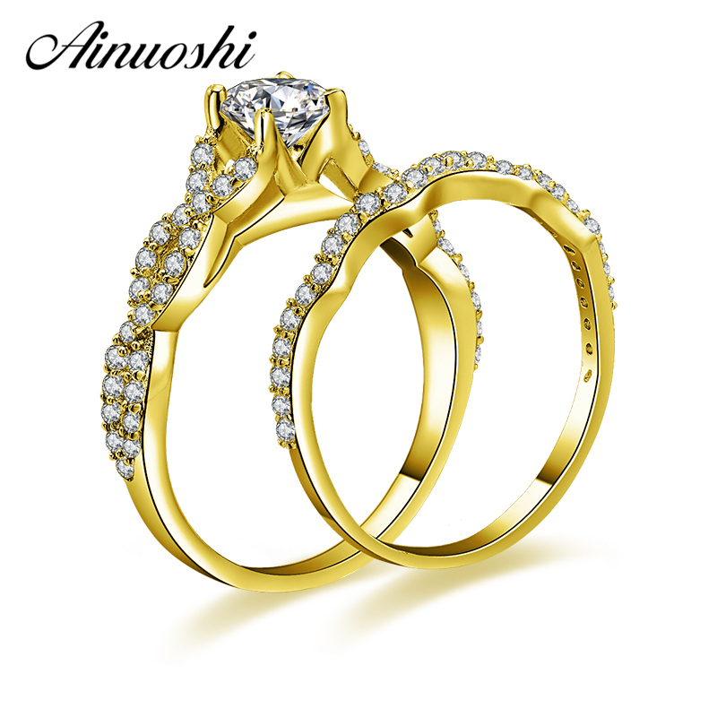 AINUOSHI 10k Solid Yellow Gold Ring Set 0.5ct Round Cut Weaving Bridal Ring Set Luxurious Engagement Wedding Jewelry For Woman