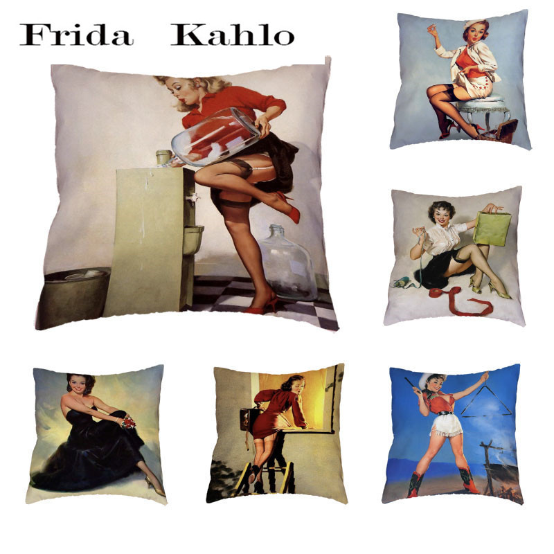 Beautiful Lady Pattern Cushion Cover Polyester Peach Skin Cute Elegant Long Hair Girl Simple Sexy Style Pillow Home Decoration