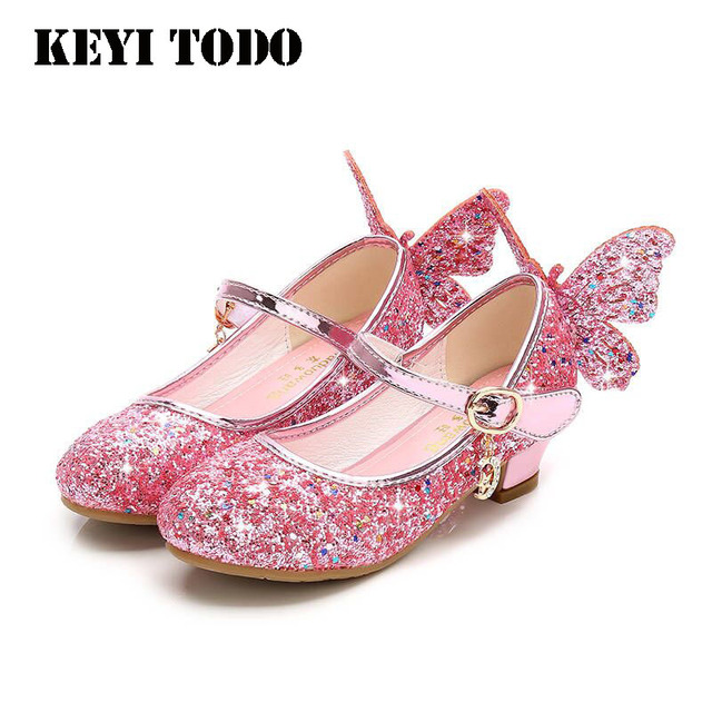 be693f46f Moda De Lantejoulas Crianças Princesa Sapatos Meninas Sapatos de Salto Alto  Da Asa Da Borboleta da