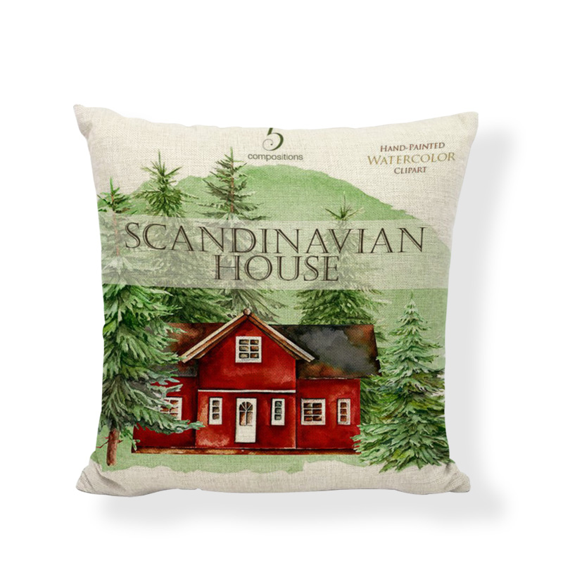 Hot Sale Linen Pillow Cover Christmas Gifts Snowman Sleigh Cushion Cover Home Sofa Office Bedroom Case Decorative Pillow Case