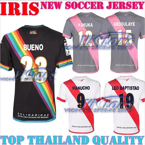 c770ac0e9 New Rayo Vallecano 2016 soccer jersey 2015 home white away black with  rainbow stripe 15 16 camiseta football shirts third