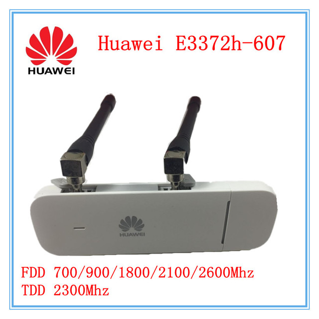 US $35 99 10% OFF Unlocked Huawei E3372 E3372h 607 + Dual Antenna 4G LTE  150Mbps USB Modem USB Dongle Support All Band with CRC9 antenna-in Modems