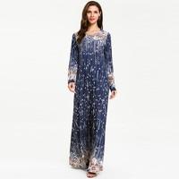 Muslim Dresses Plus Size 4XL Middle Eastern Long Dress Women's National Robe Abaya Islamic O Neck Sexy Print Femme Dress