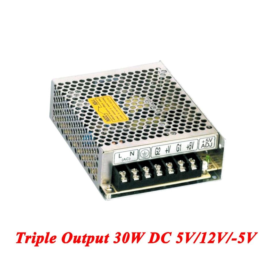 T-30A Triple Output Switching Power Supply 30W 5V 12V -5V,Ac-Dc Converter For Led Strip Light,AC 110V/220V Transformer To DC single output uninterruptible adjustable 24v 150w switching power supply unit 110v 240vac to dc smps for led strip light cnc