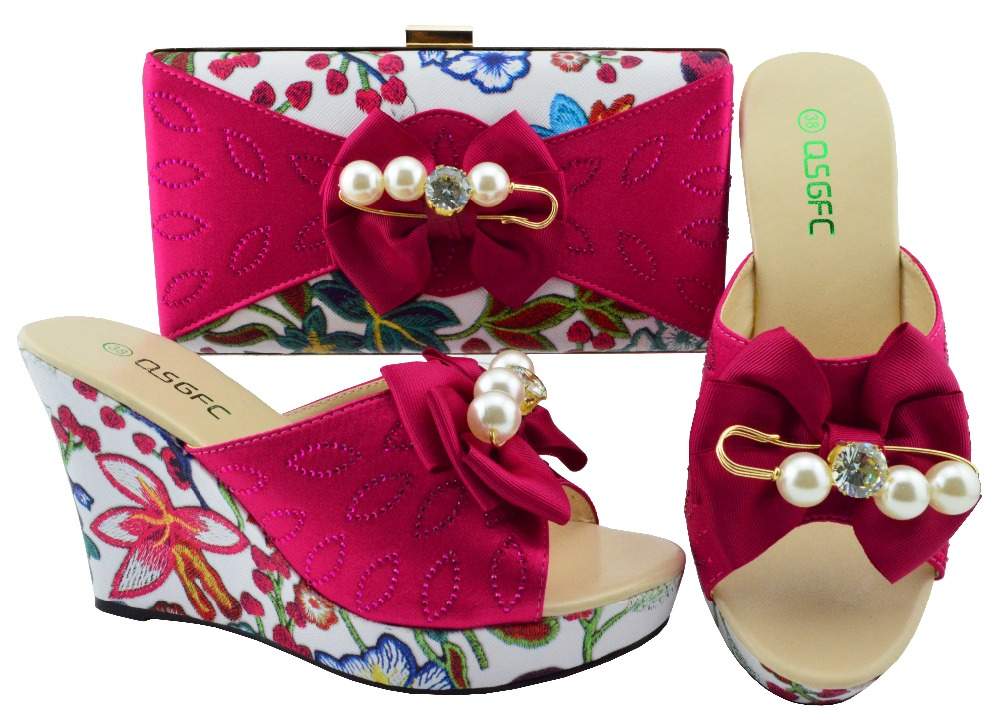 Fashion shoe and bag set matching slipper shoes clutches size 38-43 new fushia hot pink color shoes and bag set SB8195-6 cd158 1 free shipping hot sale fashion design shoes and matching bag with glitter item in black