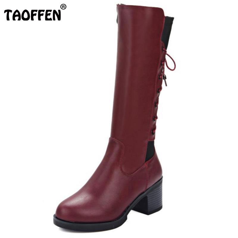 TAOFFEN Size 33-43 Ladies High Heel Mid-Calf Boots Cross Strap Round Toe Thick Heels Boots Dating Daily Winter Warm Botas Mujer popular winter high quality full grain leather round toe mid calf boots size 40 41 42 43 44 chains design square heel boots