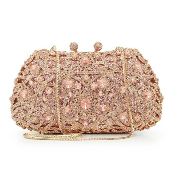 champagne Diamond Crystal Evening Purse Women Metal light blue banquet Minaudiere Clutches Bag Bridal Clutch Wedding Handbag