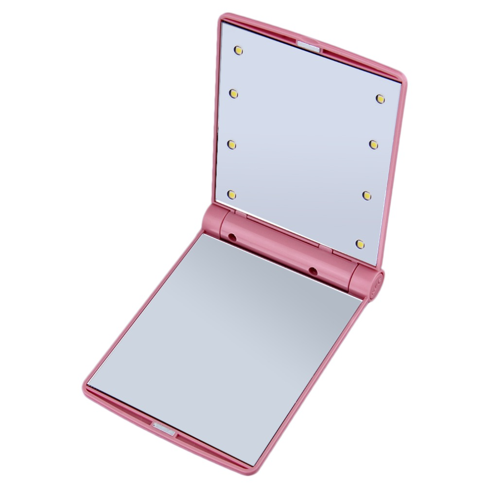 Sincere 1pc Lady Makeup Cosmetic Folding Portable Compact Pocket Mirror 8 Led Lights Lamps Hot Selling Beauty & Health Skin Care Tools