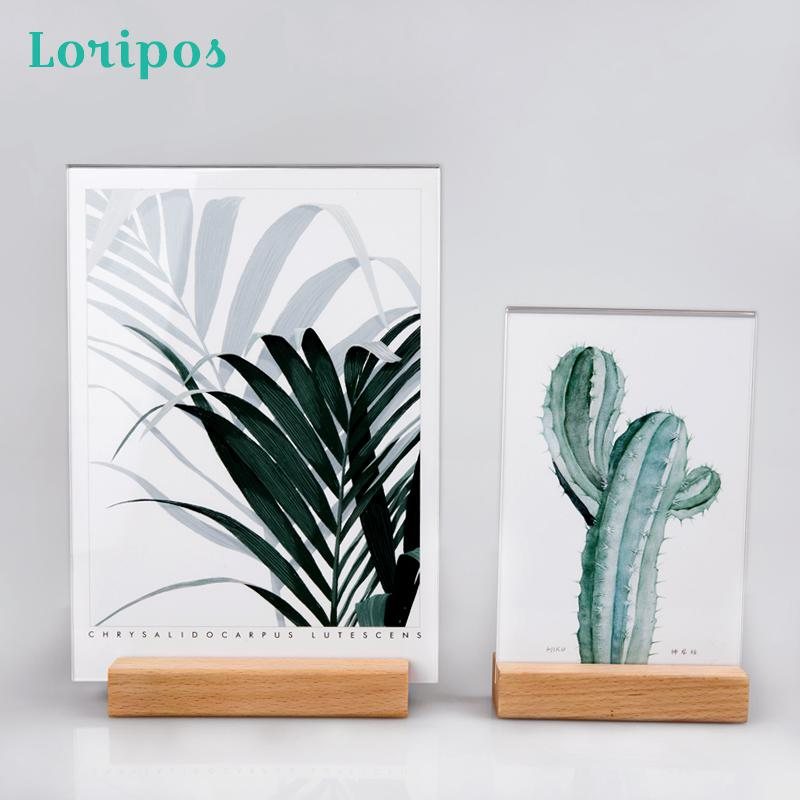 Logs Photo Frame Acrylic Table Sign Holder Frame Desktop Display Table Menu Holder Liquor Price Menu Stand Wood Poster Frames