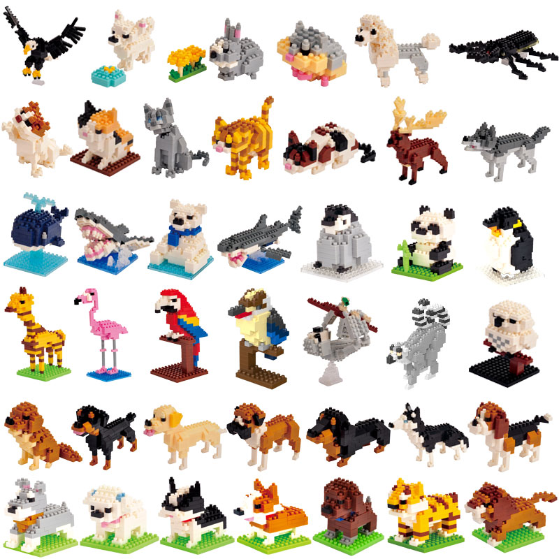 1Pcs Animal Model Figures LegoINGlys Plastic Building Blocks 3D Moose Bear Dog Cat Educational Toys For Children Birthday Gifts
