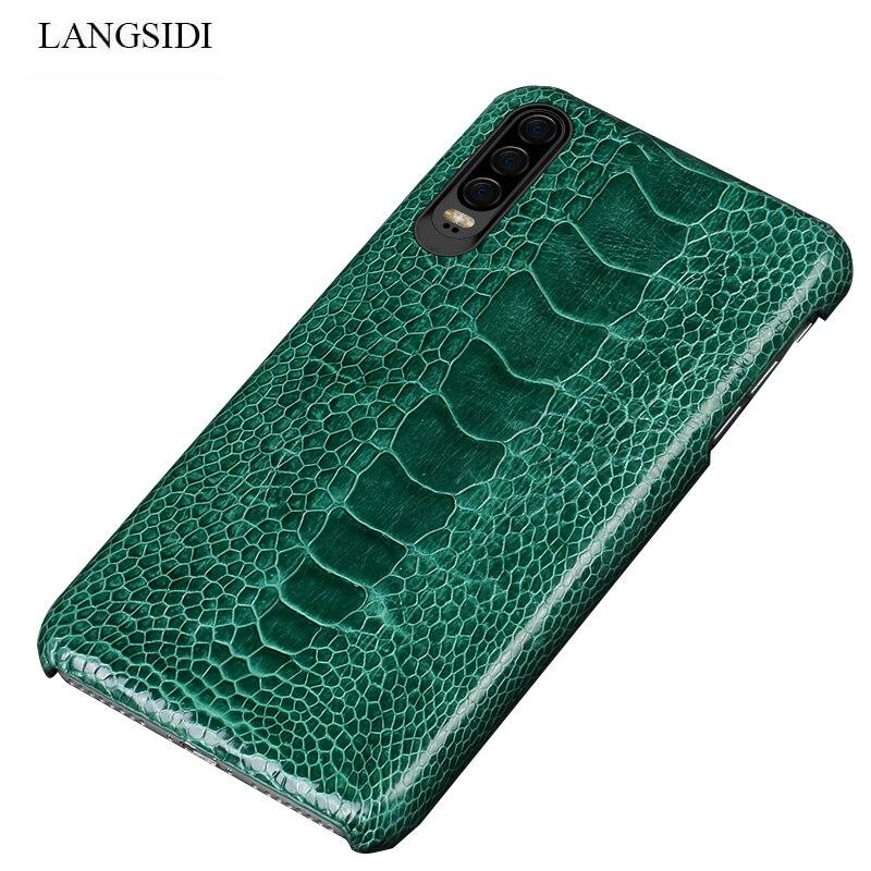 Natuurlijke Struisvogel Leer Voor Huawei p30 pro high end lederen telefoon case voor Huawei p30 Lite p20 pro p20 fall bescherming mouw