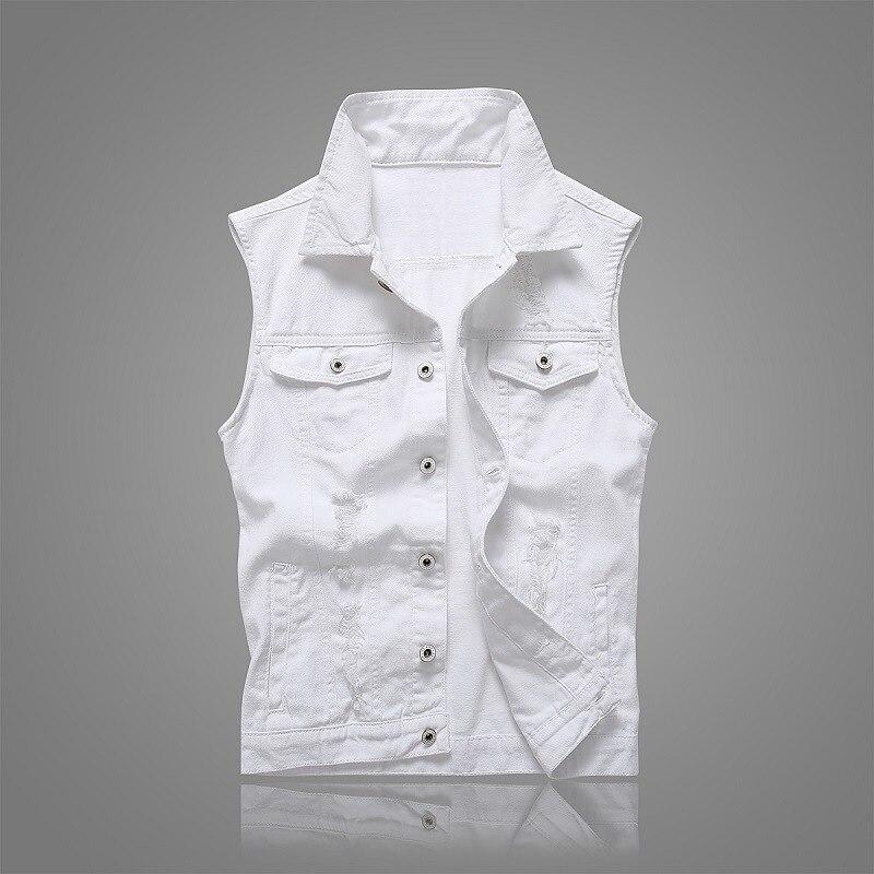 New Brief White Men's Summer Vest Korean Slim Sleeveless Denim Vests For Men Single-breasted Hole 95%Cotton Jeans Waistcoat Male