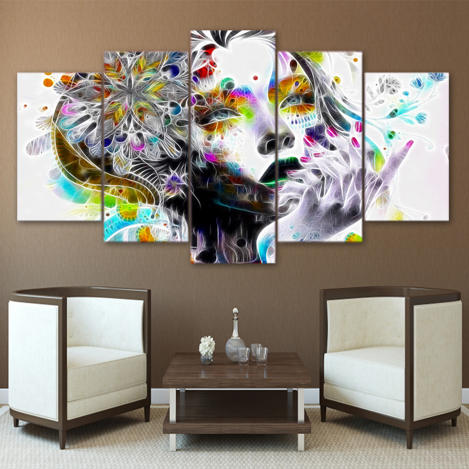 Artsailing 5 panel wall art on canvas home decoration accessories modern psychedelic woman fractal trosik art print ny 2729