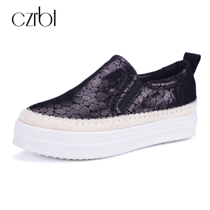 CZRBT Spring Autumn Women Shoes Genuine Leather Flat Shoes Casual Loafers Fashion Polka Dot Slip On Comfortable Platform Shoes fashion bow tie women shoes 2017 spring autumn slip on woman genuine leather single shoes solid casual flat shoes size 35 40
