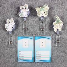 Creative Badge Scroll Nurse Reel Cute Vertical PVC Character Scalable Colors Grey Cat Exhibition  ID Plastic Student Card Holder