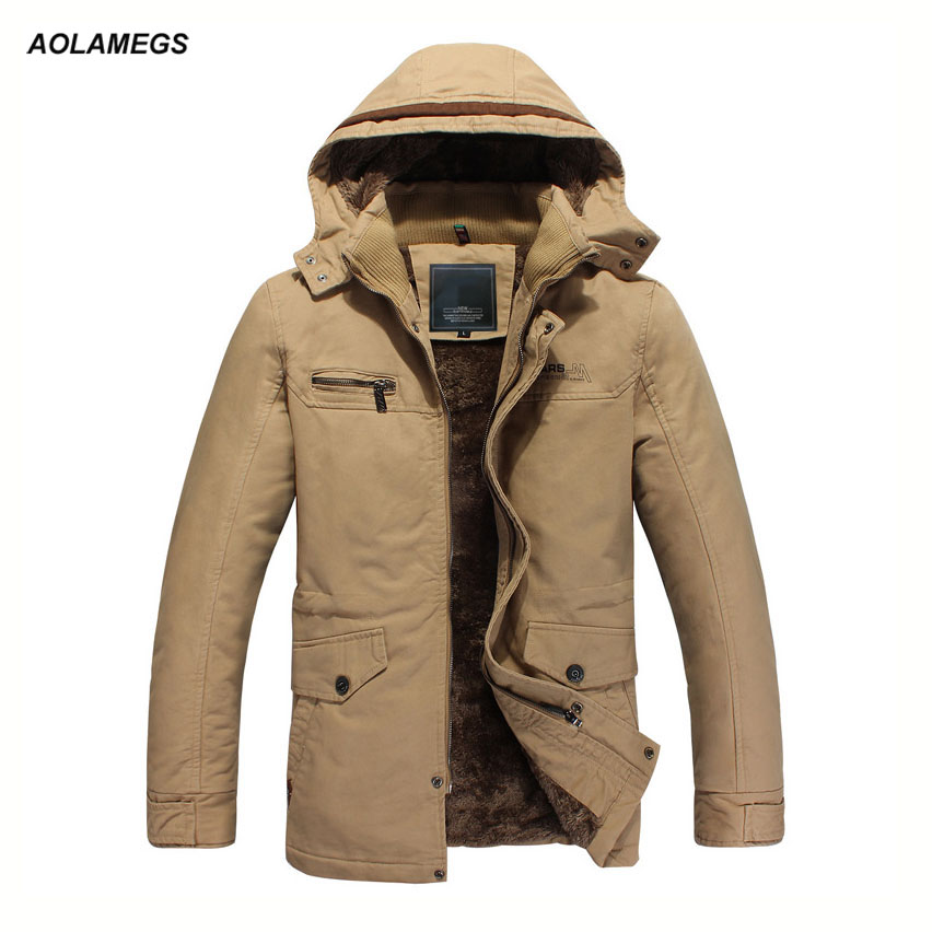 где купить  Aolamegs Winter Jacket Men Plus Velvet Thick Warm Parkas Coats High Quality Business Casual Windproof Jackets Male Outwear Coat  дешево