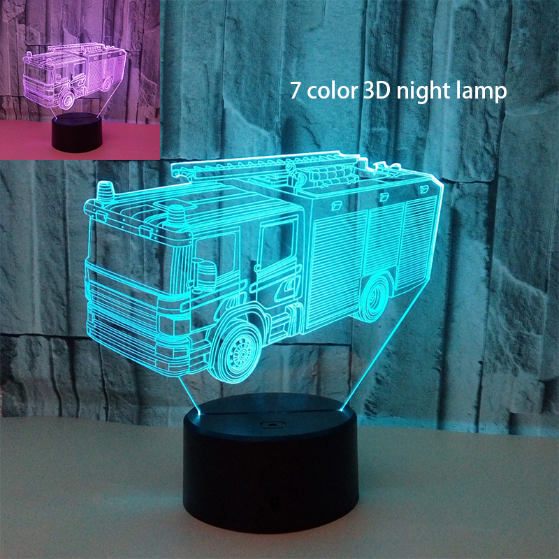 Fire Truck 3D Table Desk Lamp 7 Colors Led USB 3D Night Lights as Babyroom Toys Decoration Lights Fire Engine Model Light usb novelty gifts 7 colors changing animal horse led night lights 3d led desk table lamp as home decoration