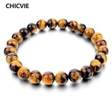 CHICVIE Tiger Eye Love Buddha Bracelets Bangles Trendy Natural Stone Bracelet For Women Famous Brand Men