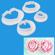 Seaan 4 Pcs/Lot Peony Flower Set Plastic Fondant Cookie Cutter Cake Mold Fondant Cake Decorating Tools Sugarcraft Bakeware Tool