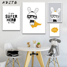 Rabbit Wall Art Canvas Posters and Prints Cartoon Bunny Painting Nordic Kids Decoration Pictures Baby Children Bedroom Decor