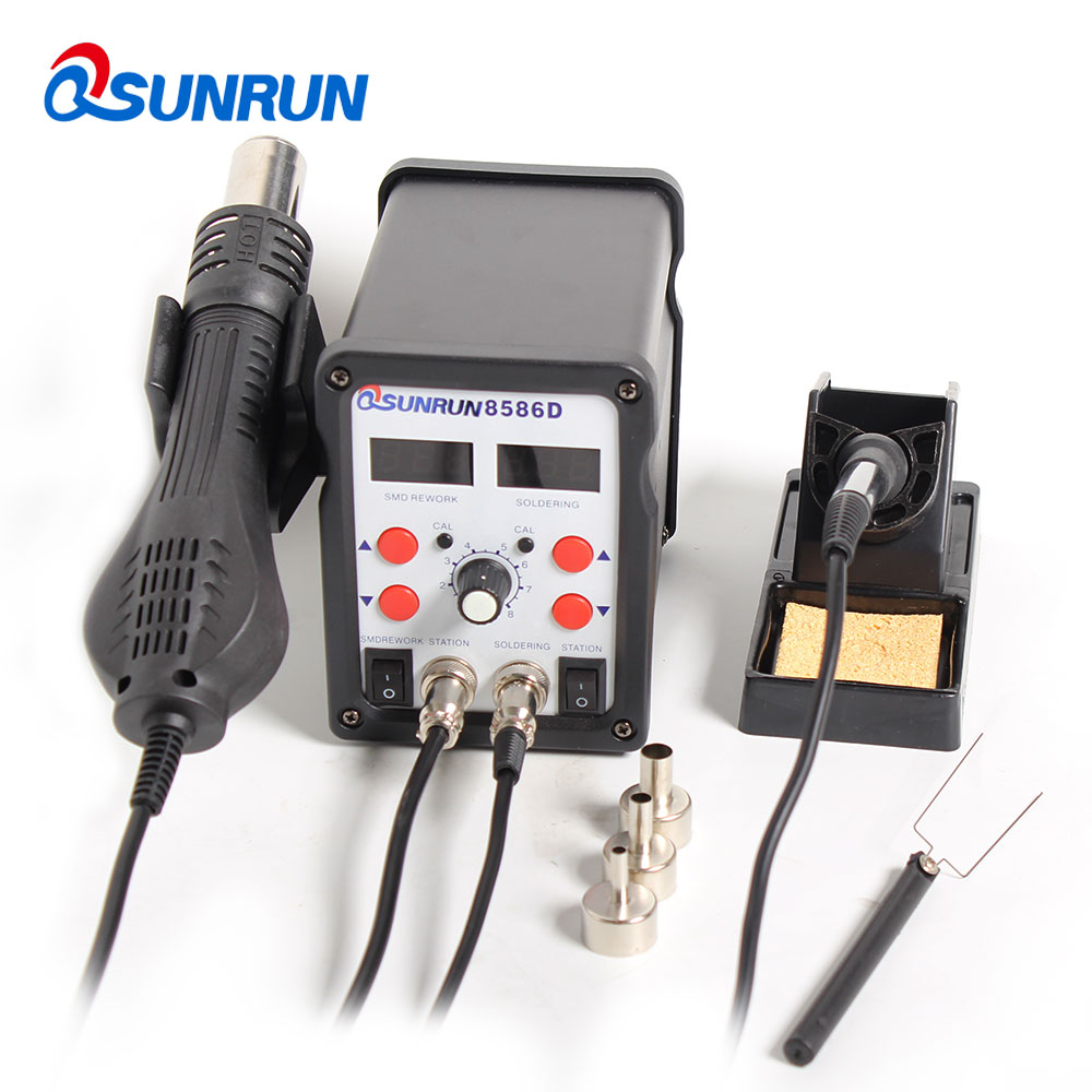 110V 220V 8586D Soldering station LCD repair tool hot air gun electric soldering iron welding tool