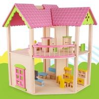Simulation Villa diy doll house Children's Wooden Early Learning Pink House Furniture Set Toy