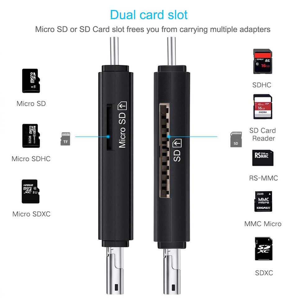 SD قارئ بطاقات USB 3.0 قارئ بطاقات مايكرو TF SD قارئ الذكية بطاقة الذاكرة محول نوع C Cardreader USB 2.0 مايكرو وتغ ل محمول