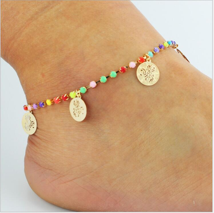 2018 New Summer Trend Choi Diamond Chain Rosette 8 Word Leaves Tassel Anklet Copper Foot ornaments