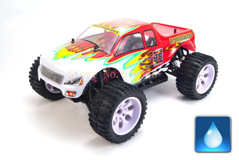 Gift HSP Baja 94111 4WD 1/10th Off Road Monster Truck Brontosaurus RC Hobby Car with 2.4G Ghz Radio Control Model hsp baja 1 10th scale nitro off road monster truck with 18cxp engine 94188 rc hobby remote control car