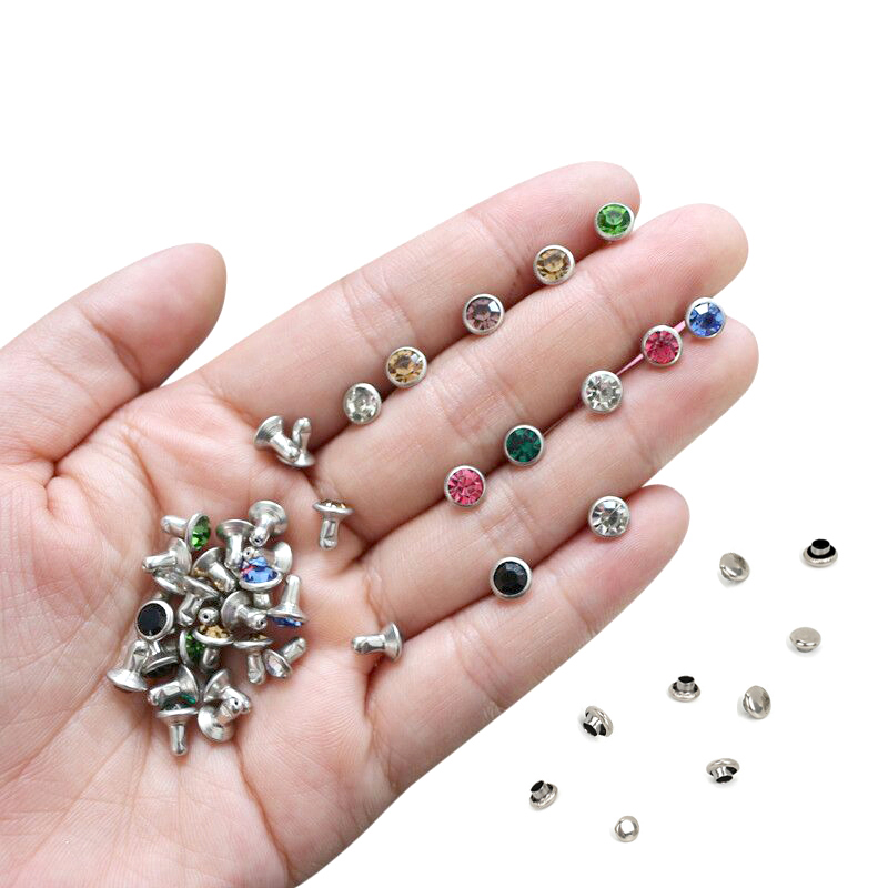 50Sets 6mm Color Crystal Rhinestone Silver Rivets Diamante Stud DIY Crafts Clothing Leather Decor Rebite Spikes Glass Drill Nail