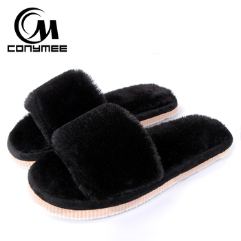 2019 Womens Fur Slippers Winter Shoes Big Size Home Slippers Plush Pantufa Women Indoor Warm Fluffy Terlik Cotton Shoes ZJ-MM 1